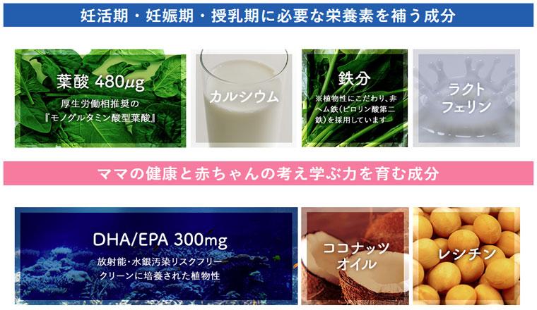葉酸480μg・カルシウム・鉄分・ラクトフェリン・DHA/EPA300mg・ココナッツオイル・レシチンを配合
