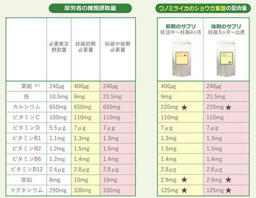 ショウガ葉酸成分表